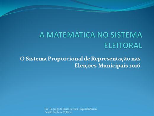 Curso Online de COLEÇÃO ELEIÇÕES MUNICIPAIS: A MATEMÁTICA NO SISTEMA ELEITORAL