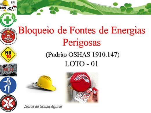 Curso Online de BLOQUEIO DE FONTES DE  ENERGIAS PERIGOSAS - Padrão OSHAS - Mód. 01