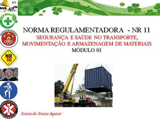 Curso Online de NORMA REGULAMENTADORA  - NR 11 Segurança e Saúde no Transporte, Movimentação e Armazenagem de Materiais Módulo 01