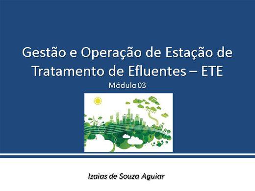 Curso Online de Gestão e Operação de Estação de Tratamento de Efluentes  -  ETE Módulo 03