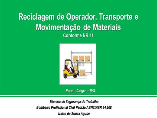 Curso Online de Reciclagem de Operador, Transporte e Movimentação de Materiais - Conforme NR 11