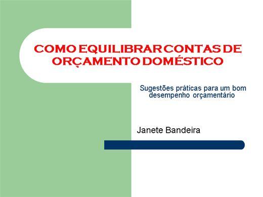 Curso Online de COMO EQUILIBRAR CONTAS DE ORÇAMENTO DOMÉSTICO