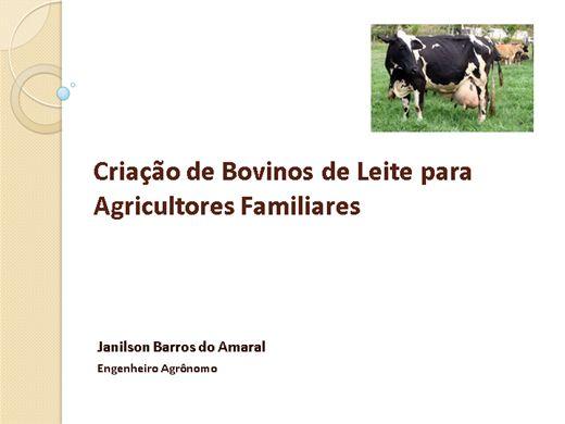 Curso Online de CRIAÇÃO DE BOVINOS DE LEITE PARA AGRICULTORES FAMILIARES