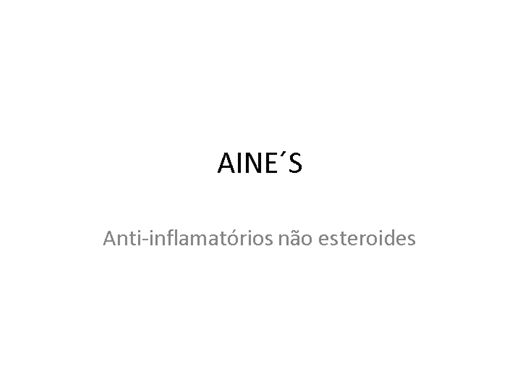 Curso Online de AINE´S (Anti-inflamatórios não esteroides)