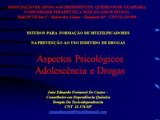 Curso Online de adolescência e seus aspectos psicologicos  - DROGAS