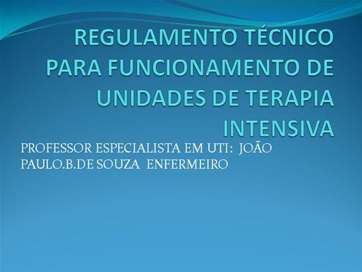 Curso Online de REGULAMENTO TÉCNICO PARA FUNCIONAMENTO DE UNIDADES DE TERAPIA INTENSIVA