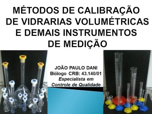 Curso Online de MÉTODOS PARA CALIBRAÇÃO DE VIDRARIAS E INSTRUMENTOS DE MEDIÇÃO VOLUMÉTRICA