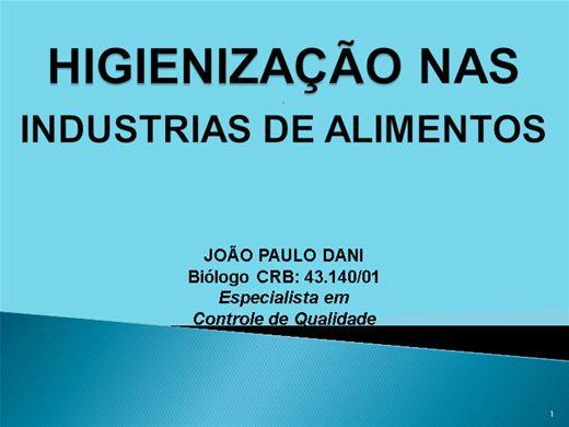 Curso Online de HIGIENIZAÇÃO NAS INDÚSTRIAS DE ALIMENTOS