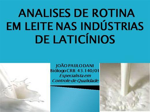 Curso Online de ANALISES DE ROTINA EM LEITE NAS INDUSTRIAS DE LATICÍNIOS