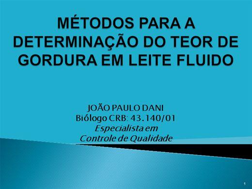Curso Online de MÉTODOS PARA A DETERMINAÇÃO DO TEOR DE GORDURA EM LEITE FLUIDO