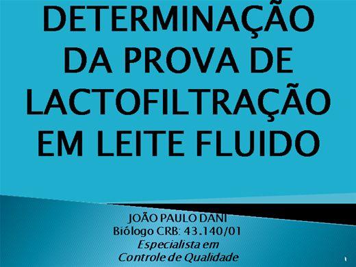 Curso Online de DETERMINAÇÃO DA  PROVA DE LACTOFILTRAÇÃO EM LEITE FLUIDO