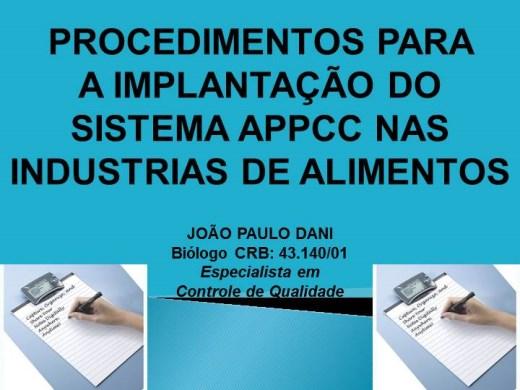 Curso Online de PROCEDIMENTOS PARA A IMPLANTAÇÃO DO SISTEMA APPCC NAS INDUSTRIAS DE ALIMENTOS