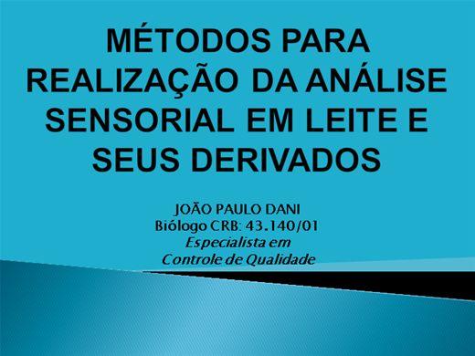 Curso Online de MÉTODOS PARA REALIZAÇÃO DA ANÁLISE SENSORIAL EM LEITE E SEUS DERIVADOS