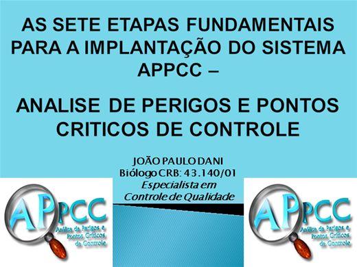 Curso Online de AS SETE ETAPAS FUNDAMENTAIS PARA A IMPLANTAÇÃO DO SISTEMA APPCC - ANALISE DE PERIGOS E PONTOS CRITICOS DE CONTROLE