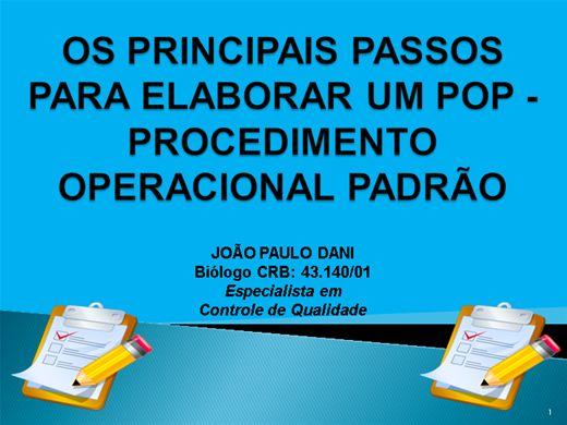 Curso Online de OS PRINCIPAIS PASSOS PARA ELABORAR UM POP - PROCEDIMENTO OPERACIONAL PADRÃO