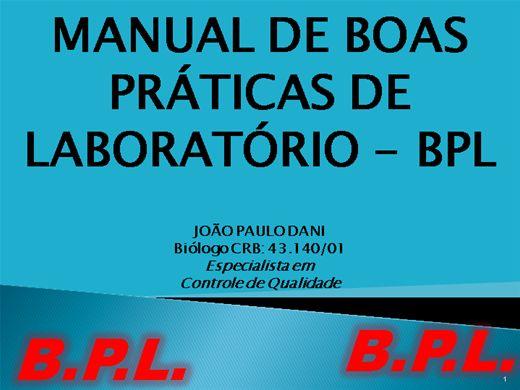 Curso Online de MANUAL DE BOAS PRATICAS DE LABORATÓRIO - BPL