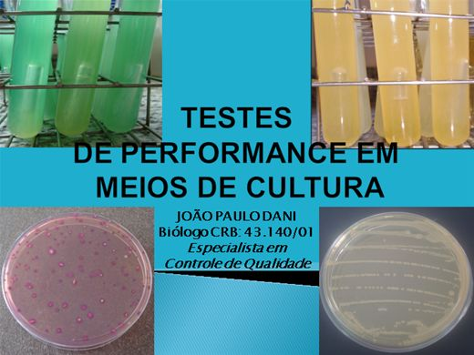 Curso Online de MÉTODOS PARA A REALIZAÇÃO DE TESTES DE PERFORMANCE EM MEIOS DE CULTURA