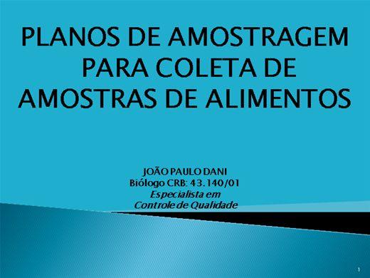 Curso Online de PLANOS DE AMOSTRAGEM PARA COLETA DE AMOSTRAS DE ALIMENTOS
