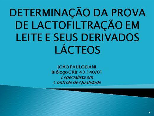 Curso Online de DETERMINAÇÃO DA LACTOFILTRAÇÃO EM  LEITE FLUIDO E EM SEUS DERIVADOS LACTEOS