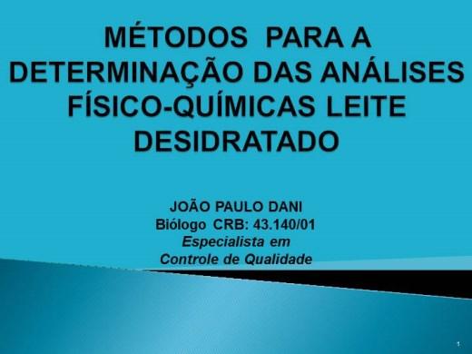 Curso Online de DETERMINAÇÃO DAS ANÁLISES-FÍSICO-QUÍMICAS EM LEITE  DESIDRATADO