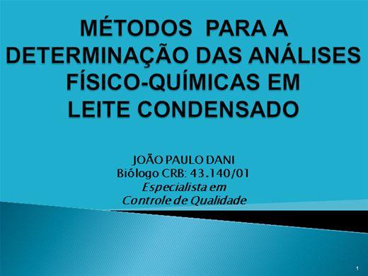 Curso Online de DETERMINAÇÃO DAS ANÁLISES-FÍSICO-QUÍMICAS EM LEITE CONDENSADO