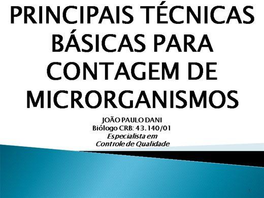 Curso Online de PRINCIPAIS TÉCNICAS BÁSICAS PARA CONTAGEM DE MICRORGANISMOS
