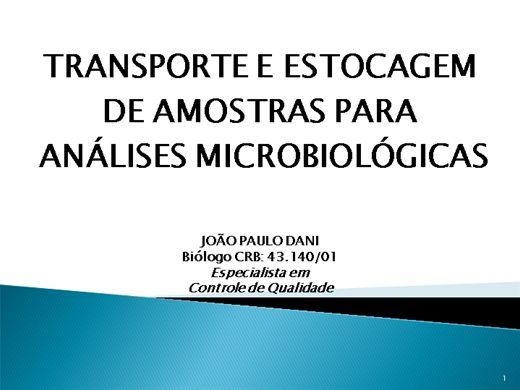 Curso Online de REGRAS PARA O TRANSPORTE E  ESTOCAGEM  DE AMOSTRAS DE ALIMENTOS PARA ANÁLISES MICROBIOLÓGICAS