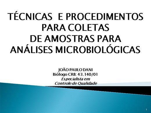 Curso Online de TÉCNICAS E PROCEDIMENTOS PARA COLETA  DE AMOSTRAS PARA ANÁLISES MICROBIOLÓGICAS