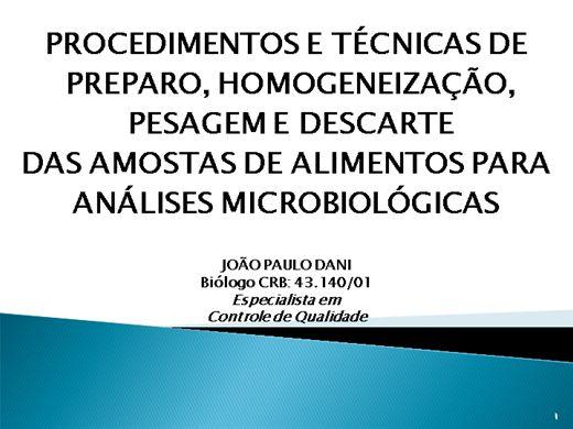 Curso Online de Procedimentos e Técnicas de Preparo, Pesagem de Amostras Para Análise Microbiológicas