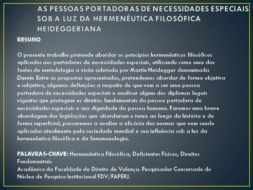 Curso Online de AS PESSOAS PORTADORAS DE NECESSIDADES ESPECIAIS SOB A LUZ DA HERMENÊUTICA FILOSÓFICA HEIDEGGERIANA