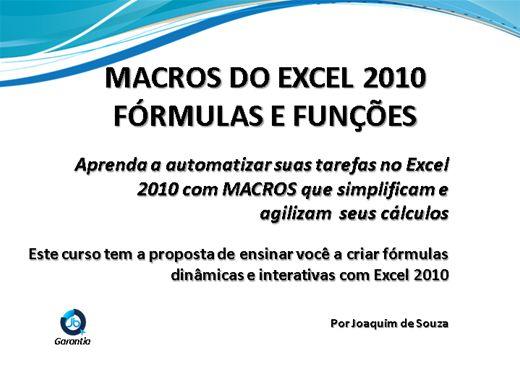 Curso Online de Macros do Excel 2010 - Fórmulas e Funções