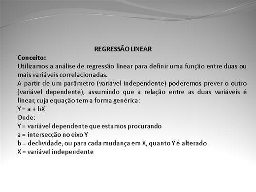Curso Online de ANALISE DE REGRESSÃO E CORRELAÇÃO