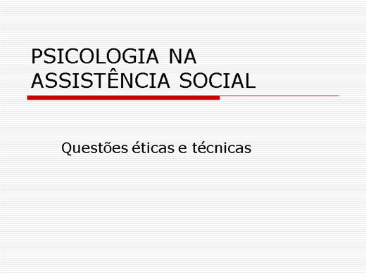 Curso Online de PSICOLOGIA NA ASSISTÊNCIA SOCIAL