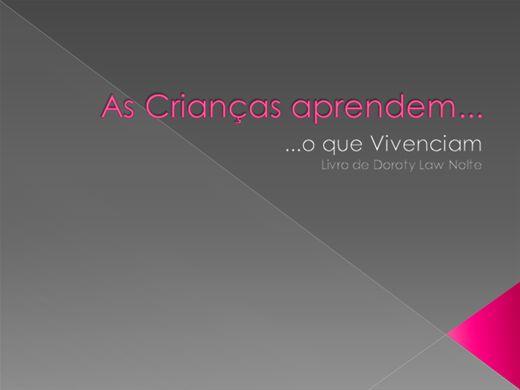 Curso Online de AS CRIANÇAS APRENDEM...O QUE VIVENCIAM