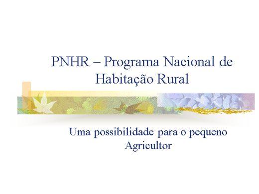 Curso Online de PNHR - Programa Nacional de Habitação Rural