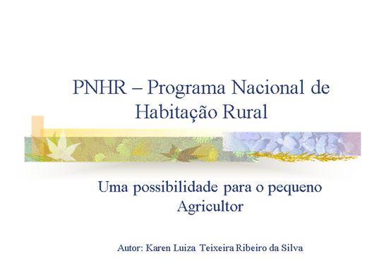 Curso Online de PNHR - Uma oportunidade para o pequeno agricultor - Trabalho Social