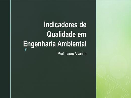 Curso Online de Indicadores de Qualidade em Engenharia Ambiental