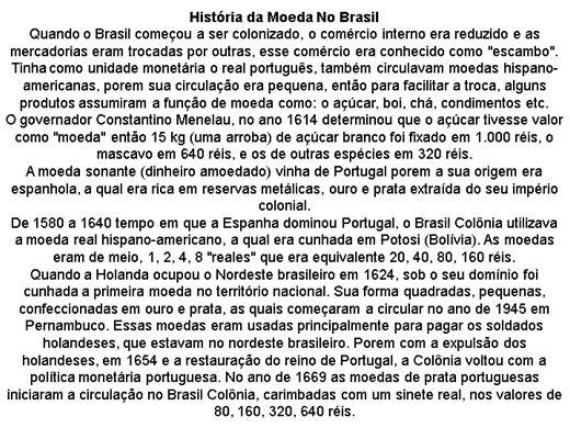 Curso Online de A HISTÓRIA DA MOEDA NO BRASIL.