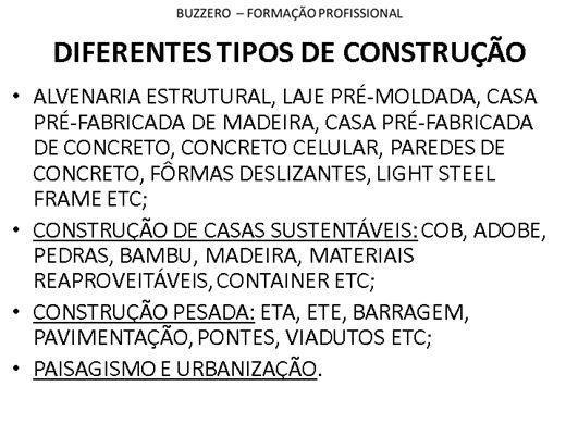 Curso Online de DIFERENTES TIPOS DE CONSTRUÇÃO