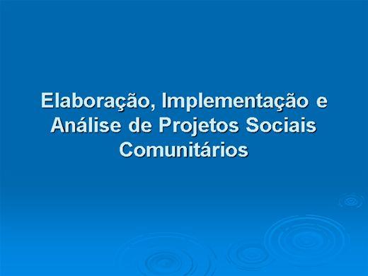 Curso Online de Elaboração, Implementação e Análise de Projetos Sociais Comunitários