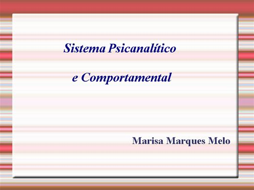 Curso Online de Sistema Psicanalítico e Comportamental