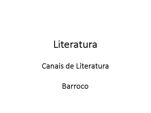 Curso Online de LITERATURA
