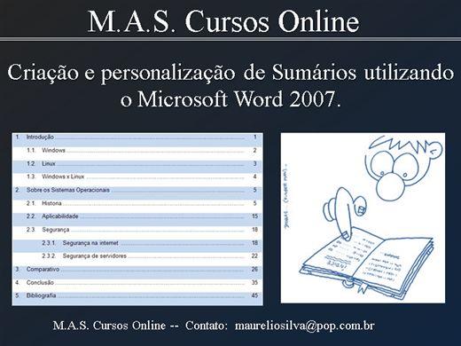 Curso Online de Criação de Sumário (Índice) Manual no Word 2007