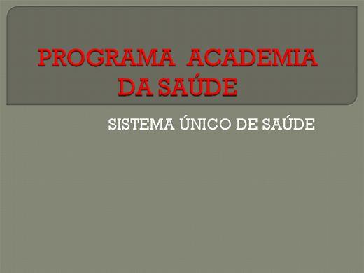 Curso Online de PROGRAMA ACADEMIA DA SAÚDE