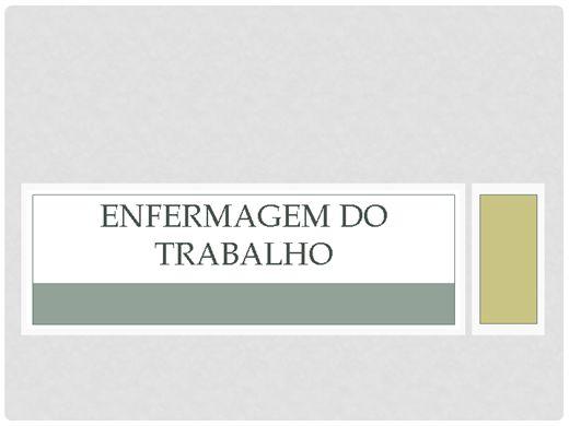 Curso Online de ENFERMAGEM DO TRABALHO