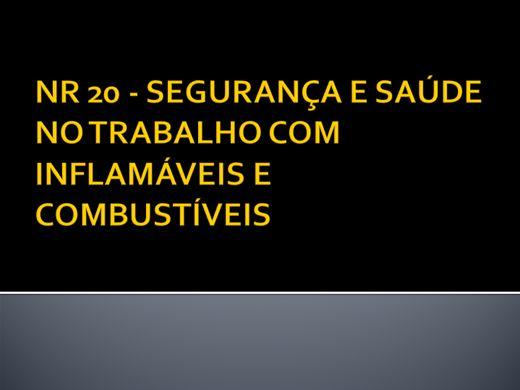 Curso Online de NR 20 - SEGURANÇA E SAÚDE NO TRABALHO COM INFLAMÁVEIS E COMBUSTÍVEIS