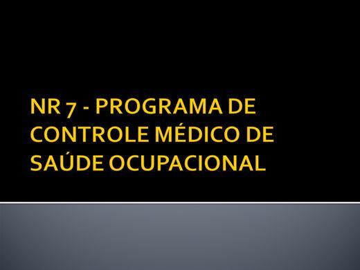 Curso Online de NR 7 - PROGRAMA DE CONTROLE MÉDICO DE SAÚDE OCUPACIONAL