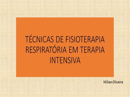 Curso Online de TÉCNICAS DE FISIOTERAPIA RESPIRATÓRIA EM TERAPIA INTENSIVA