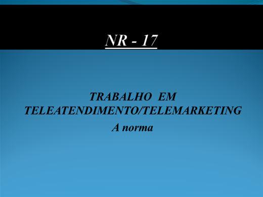 Curso Online de TRABALHO  EM TELEATENDIMENTO/TELEMARKETING A norma