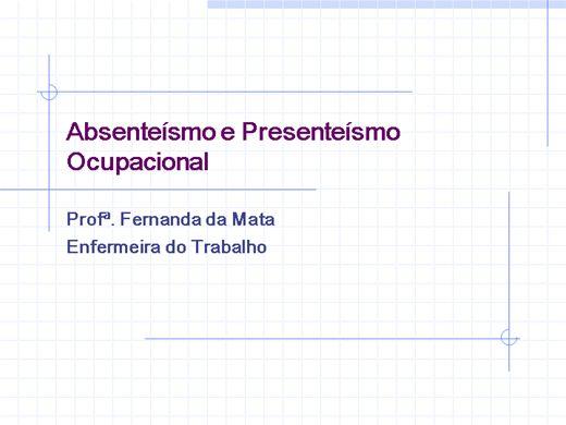 Curso Online de ABSENTEÍSMO E PRESENTEÍSMO OCUPACIONAL